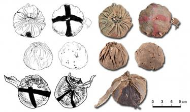 Three leather balls found in approximately 3,000-year-old graves in China.