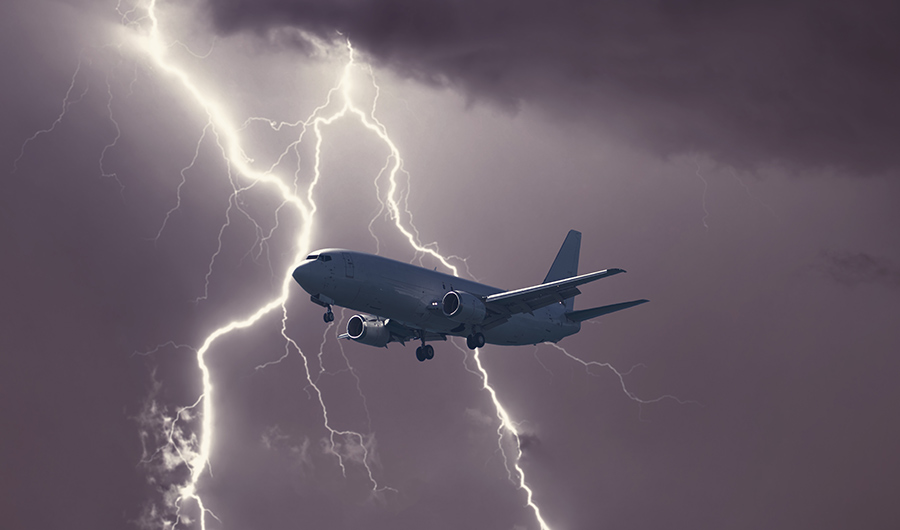 plane flying through a storm