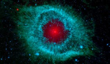 The Helix nebula, which resembles an evil eye with a blazing red pupil.