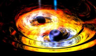 An illustration of two black holes merging, surrounded in hot yellow light.