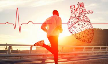 Man running at sunset with overlaid image of heart and EKG.